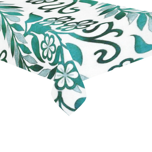 "Vintage Floral Embroidery Cotton Linen Tablecloth 60""x 104"""