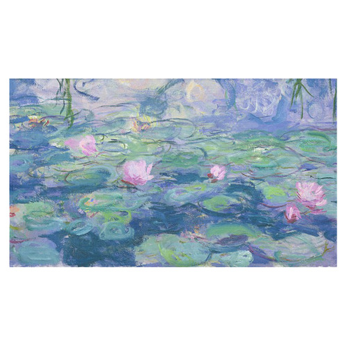 "Monet Pink Water Lily Pond Floral Fine Art Cotton Linen Tablecloth 60""x 104"""