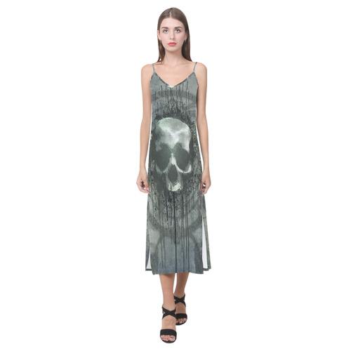 Awesome skull with bones and grunge V-Neck Open Fork Long Dress(Model D18)
