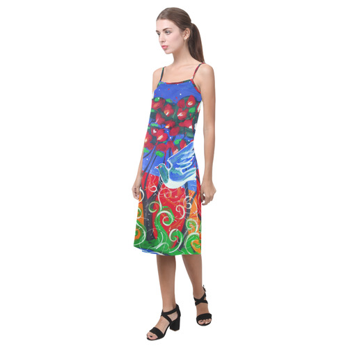 Kereru in pohutukawa  slip dress Alcestis Slip Dress (Model D05)