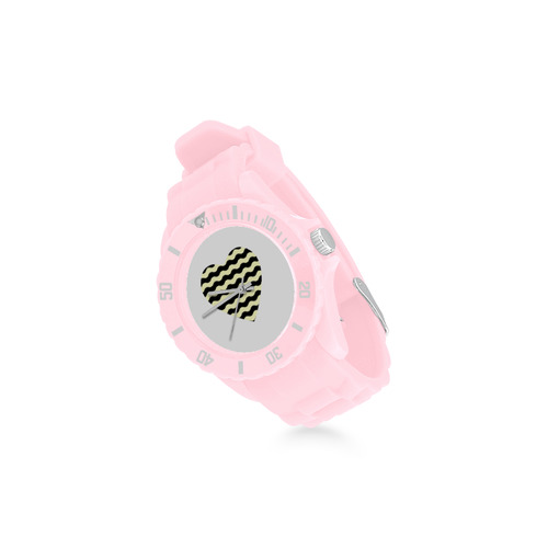 Special collection of PINK RUBBER Watches. Elegant cute edition with Black / White heart for Ladies. Sport Rubber Strap Watch(Model 301)