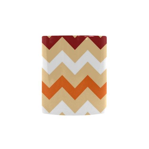 Cute designers zig-zag Mug : design edition in beige, orange and dark red for modern Living Rooms Custom Morphing Mug