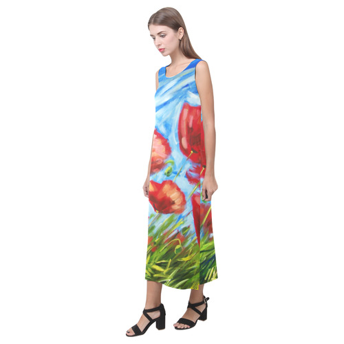 Summer Poppies Dress Phaedra Sleeveless Open Fork Long Dress (Model D08)