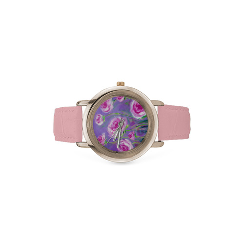 Pink Peonies watch Women's Rose Gold Leather Strap Watch(Model 201)