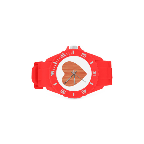 Red RUBBER Watches : with Wooden heart / Designers edition Sport Rubber Strap Watch(Model 301)