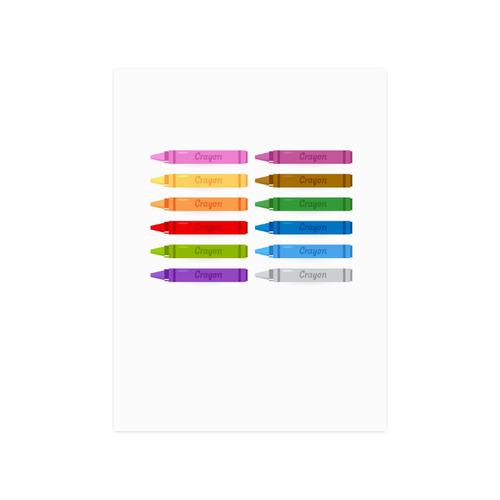 "Beautiful cute colorful Crayons : Original design Wall art Poster 18""x24"""