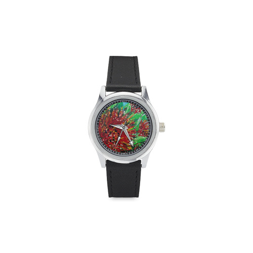 Pohutukawa blooms Kid's Stainless Steel Leather Strap Watch(Model 208)