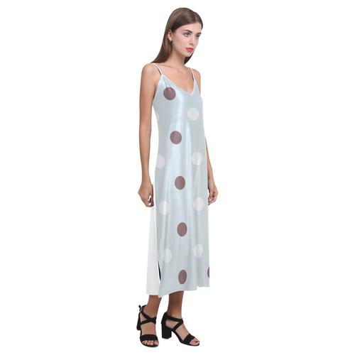 Grey original vintage Dress in high quality : Vintage dots V-Neck Open Fork Long Dress(Model D18)