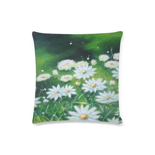"White Daisies Custom Zippered Pillow Case 16""x16""(Twin Sides)"