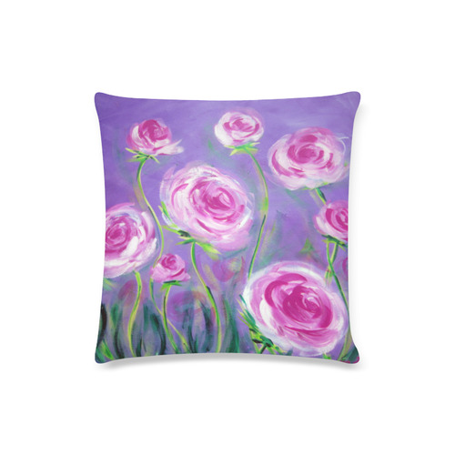 "Pink Peonies Custom Zippered Pillow Case 16""x16""(Twin Sides)"