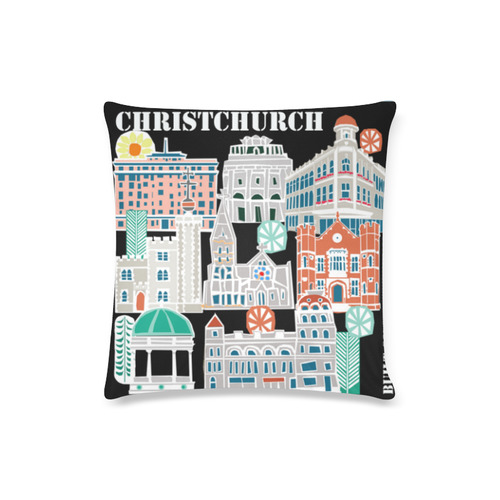 "Christchurch Buildings Custom Zippered Pillow Case 16""x16""(Twin Sides)"