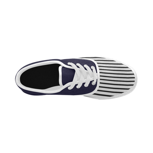 Narrow Black Flat Stripes Pattern Aries Men's Canvas Shoes (Model 029)