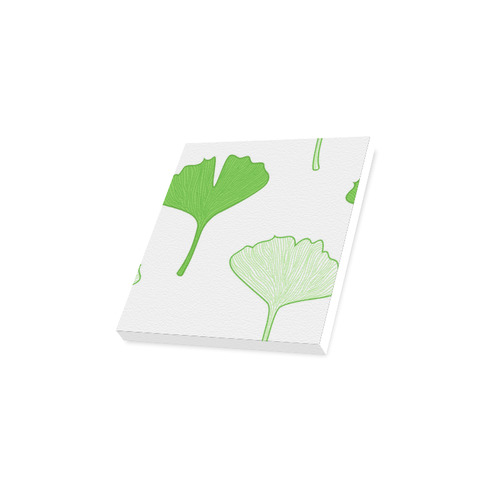 "Leaves Gingko original design Art : white and wild green Canvas Print 12""x12"""