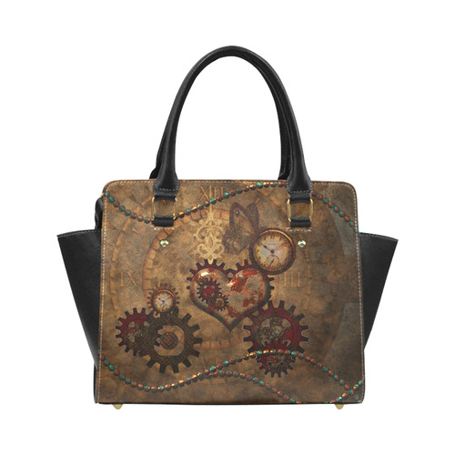 Steampunk, noble design clocks and gears Classic Shoulder Handbag (Model 1653)