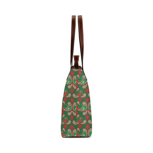 Christmas Paisley on Green Shoulder Tote Bag (Model 1646)