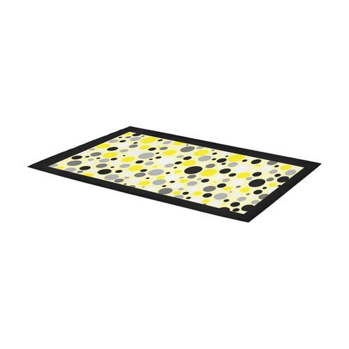yellow gray and black polka dot Area Rug 7'x3'3''