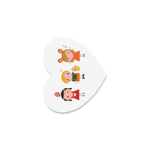 Little bunnies Art : Vintage original cute designers Round Rubber Coasters Heart Coaster