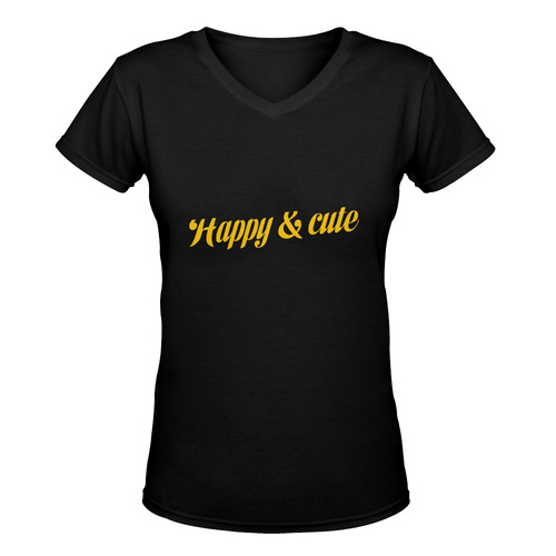Happy and cute yellow and black designers T-Shirt black and deep Pink edition : New in eshop! 2016 o Women's Deep V-neck T-shirt (Model T19)