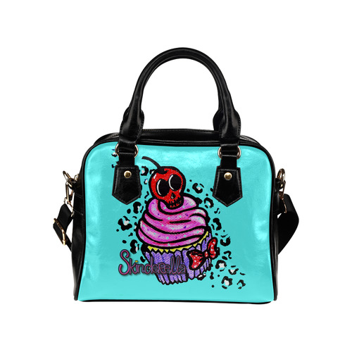 """Skull Cherry Cupcake"" by Skinderella Shoulder Handbag (Model 1634)"