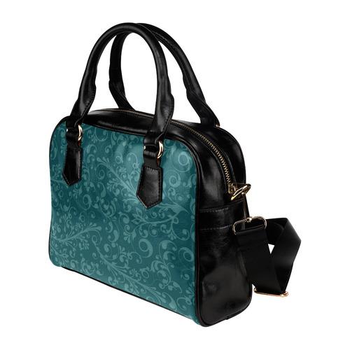 Holiday Vines - Teal Shoulder Handbag (Model 1634)