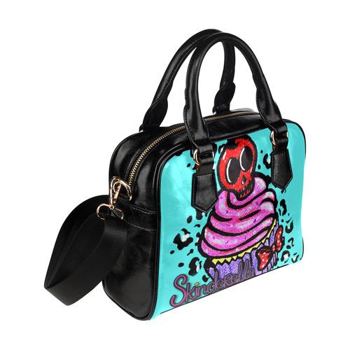 """Skull Cherry Cupcake"" by Skinderella Shoulder Handbag (Model 1634)"