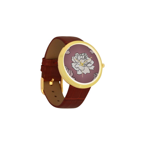 Mauve roses Women's Golden Leather Strap Watch(Model 212)