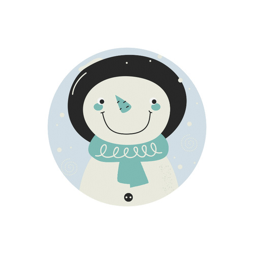 Cute designers circle - art Mouse Pad edition with Snowman / black and soft blue Round Mousepad