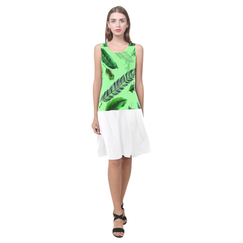 New designers Fashion available : Collection 2016 with wild green feathers. Designers artistic Dress Sleeveless Splicing Shift Dress(Model D17)
