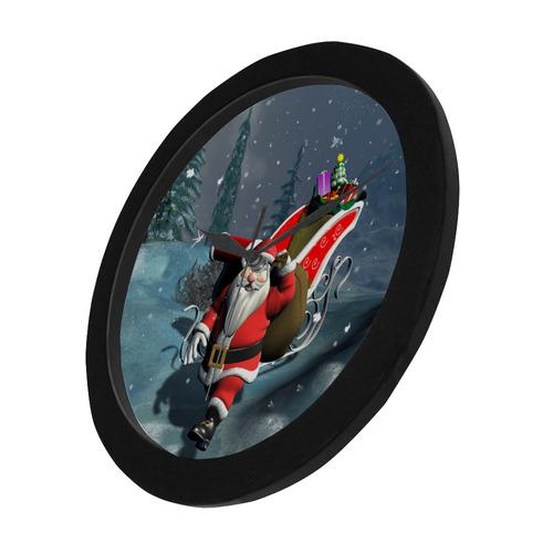 Christmas, Santa Claus Circular Plastic Wall clock