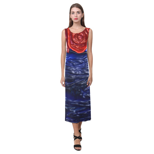 Blue fractal heart with red rose in plastic Phaedra Sleeveless Open Fork Long Dress (Model D08)