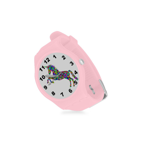 Abstract Triangle Unicorn Pink Unisex Round Rubber Sport Watch(Model 314)