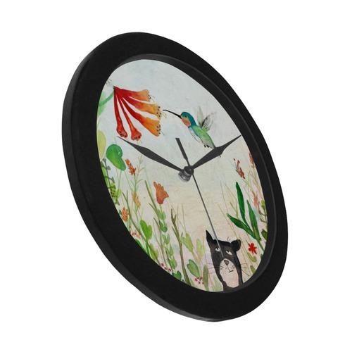 hummingbird cat flower summer floral illustration Circular Plastic Wall clock