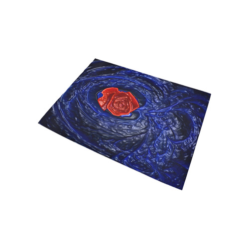 Blue fractal heart with red rose in plastic Area Rug 5'3''x4'