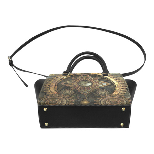 Rusty vintage steampunk metal gears and pipes Classic Shoulder Handbag (Model 1653)