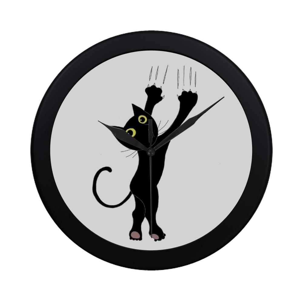Cute Black Cat Kitty Animal Drawing Circular Plastic Wall Clock Id