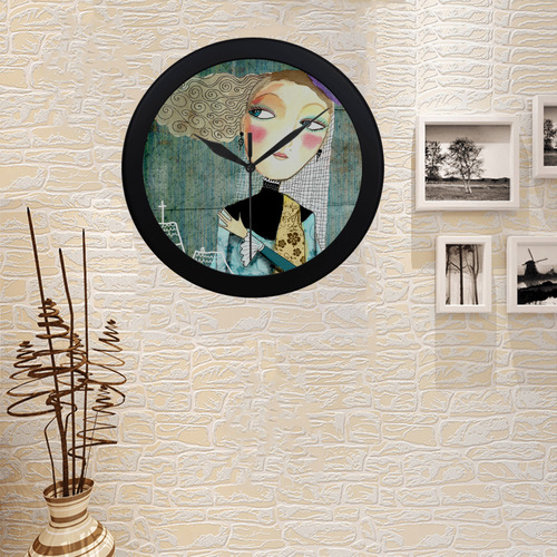 pretty lady girl woman church art illustration Circular Plastic Wall clock