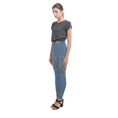 Torn Look Denim Jeans - Halloween - Light Skin Cassandra Women's Leggings (Model L01)