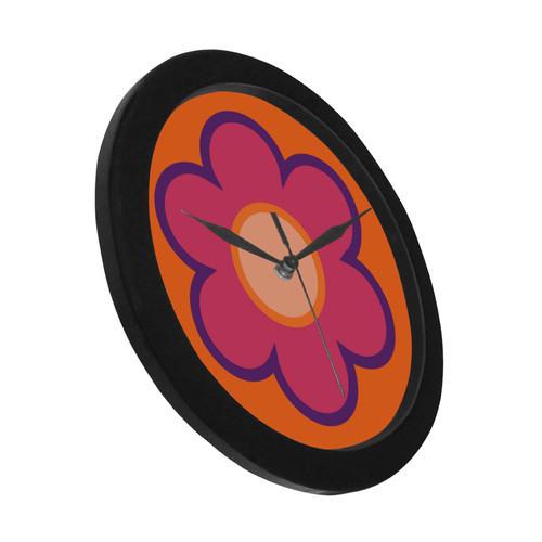 Pink Flower Circular Plastic Wall clock
