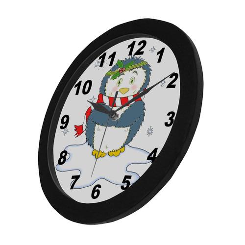 Adorable Christmas Penguin Circular Plastic Wall clock