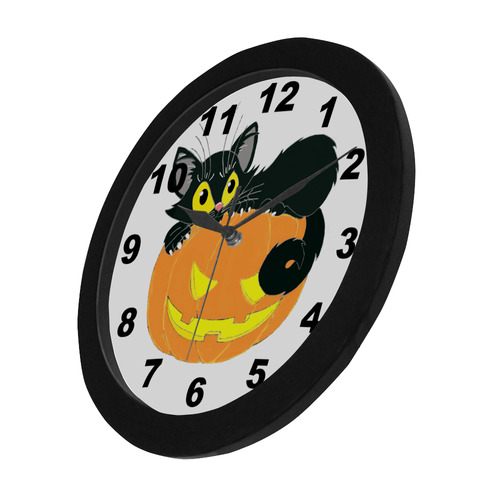 Halloween Black Cat And Pumpkin Circular Plastic Wall clock