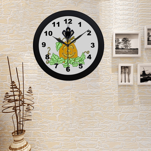 Halloween Crow And Pumpkin Circular Plastic Wall clock
