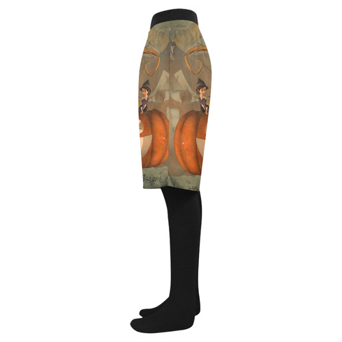Halloween, funny pumpkin with witch Men's Swim Trunk (Model L21)