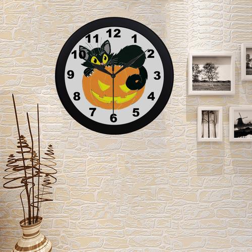 Halloween Black Cat And Pumpkin Circular Plastic Wall clock