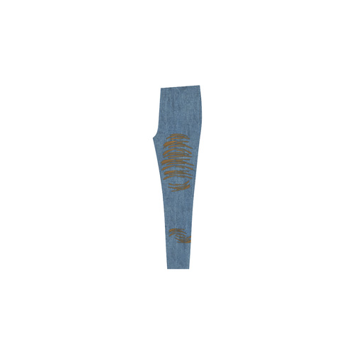 Denim-Look Torn Jeans - Halloween - Dark Skin Cassandra Women's Leggings (Model L01)