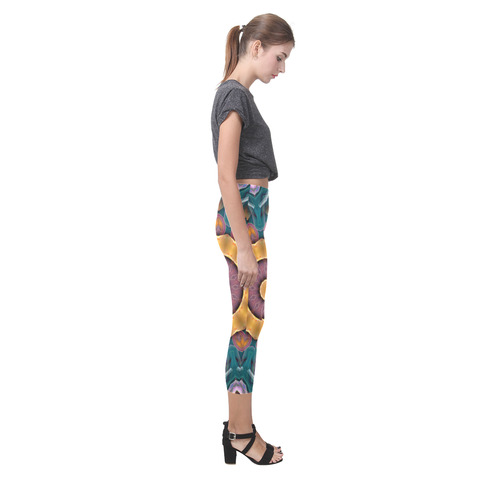 Yellow, green Mandala CB Capri Legging (Model L02)