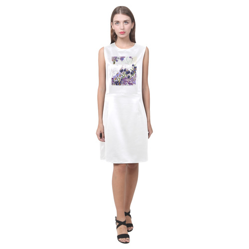 From Collection Magical and Mystical 2016. Fashion Dress in white and purple style. Perfect look. De Eos Women's Sleeveless Dress (Model D01)