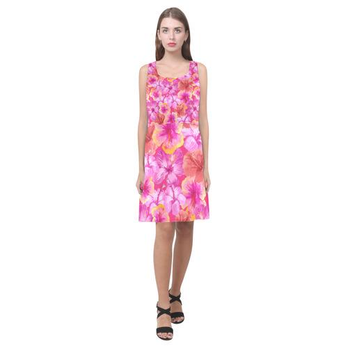 6e8833e969d Hibiscus floral flowers flower-Cute pink pattern Hebe Casual Sundress  (Model D11)