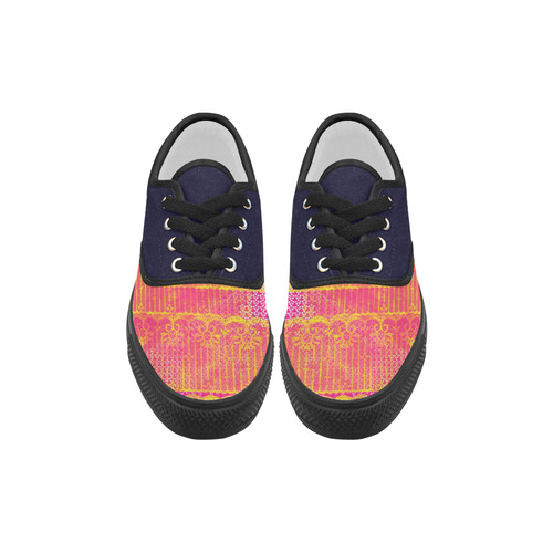 Yellow and Magenta Lace Texture Aries Men's Canvas Shoes (Model 029)