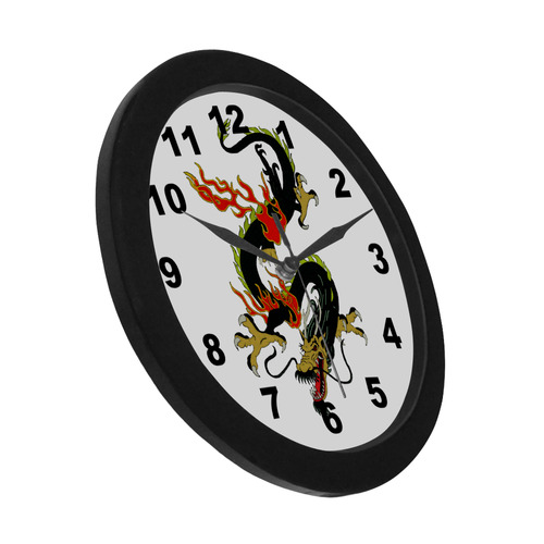 Chinese Dragon Fantasy Black Circular Plastic Wall clock