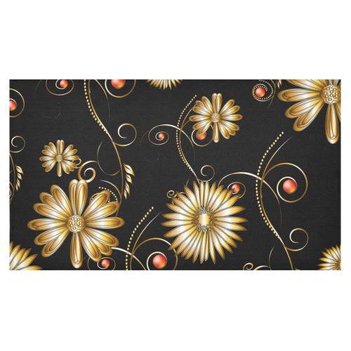 "Flowers in golden colors Cotton Linen Tablecloth 60""x 104"""